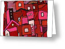 Village In Pink Greeting Card