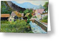 Village In The Austrian Alps Greeting Card