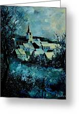 Village In Winter Greeting Card