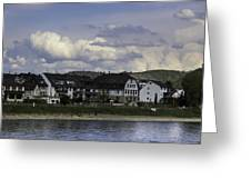 Village Of Spay And Marksburg Castle Greeting Card