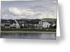 Village Of Spay Germany And Marksburg Castle Greeting Card