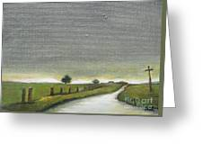 Village Road In The Twilight  Greeting Card