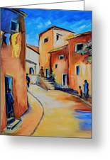 Village Street In Tuscany Greeting Card