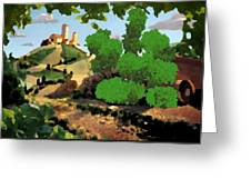 Village. Tower On The Hill Greeting Card