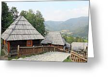 Village With Wooden Cabin Log On Mountain Greeting Card