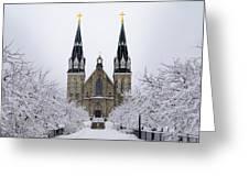 Villanova University After Snow Fall Greeting Card