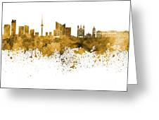 Vilnius Skyline In Orange Watercolor On  White Background Greeting Card