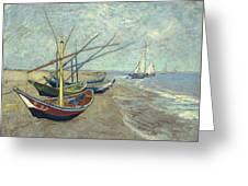 Vincent Van Gogh  Fishing Boats On The Beach At Les Saintes Maries De La Mer Greeting Card