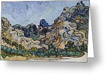 Vincent Van Gogh  Mountains At Saint Remy Greeting Card