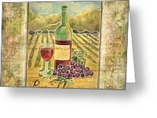 Vineyard Pinot Noir Grapes N Wine - Batik Style Greeting Card
