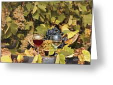 Vineyard With Red And White Wine Autumn Season Greeting Card