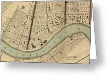 Vintage 1840s Map Of New Orleans Greeting Card