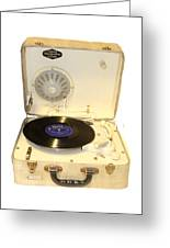 Vintage 1950s Record Player And Vinyl Record Greeting Card