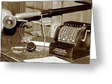 Vintage Adding Machine Greeting Card