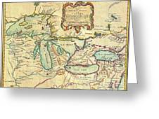 Vintage Antique Map Of The Great Lakes Greeting Card