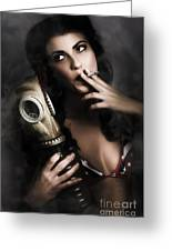 Vintage Army Pinup Girl Holding Gas Mask Greeting Card
