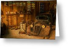 Vintage Auto Repair Garage With Truck And Signs Greeting Card