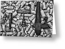 Vintage Barrel Taps And Cork Screw Black And White Greeting Card