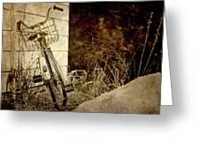 Vintage Bicycle In Winter. Greeting Card