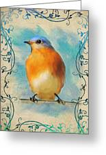 Vintage Bluebird With Flourishes Greeting Card
