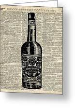 Vintage Bottle Of Rum Over Antique Book Page Greeting Card