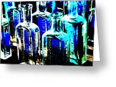 Vintage Bottles At A Flea Market Hard Greeting Card