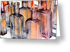 Vintage Bottles At A Flea Market Neg Greeting Card
