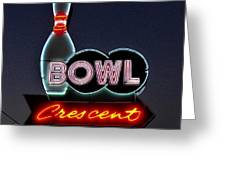 Vintage Bowling Neon Sign Greeting Card