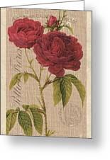 Vintage Burlap Floral 3 Greeting Card