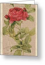 Vintage Burlap Floral Greeting Card