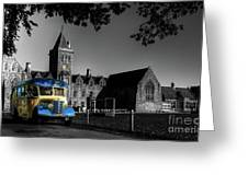 Vintage Bus At Taunton School Greeting Card