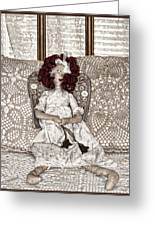 Vintage Button Angel Doll On Crocheted Spread Greeting Card