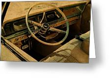 Vintage Cadillac Steering Wheel And Interior Greeting Card