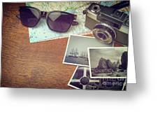 Vintage Camera And Map Greeting Card