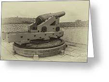 Vintage Cannon At Fort Moultrie Greeting Card