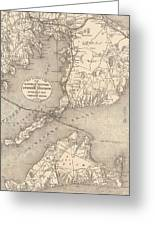 Vintage Cape Cod Old Colony Line Map  Greeting Card