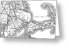 Vintage Cape Cod Old Colony Railroad Map Greeting Card