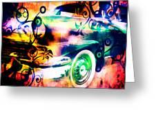 Vintage Car 1 Neons Edition Greeting Card