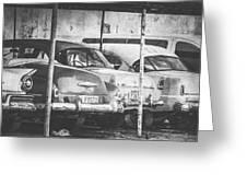Vintage Cars At Night Bw Greeting Card