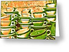 Vintage Cellar Tea Cups Painterly Greeting Card