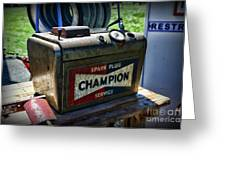Vintage Champion Spark Plug Cleaner Greeting Card