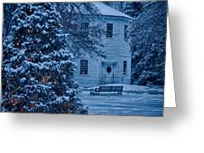 Vintage Christmas Church In Vermont Greeting Card