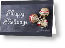 Vintage Christmas Ornaments With Copy Space Greeting Card