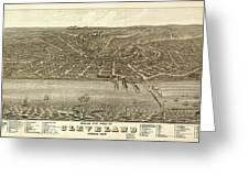Vintage Cleveland Ohio Map Greeting Card