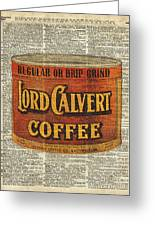 Vintage Coffee On Dictionary Page Greeting Card