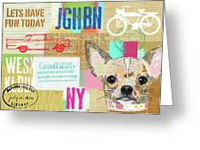 Vintage Collage Chihuahua Greeting Card