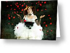 Vintage Dancer Series Raining Rose Petals  Greeting Card by Cindy Singleton