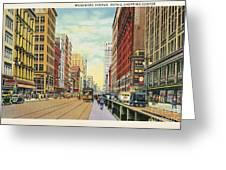 Vintage Detroit Woodward Avenue Greeting Card
