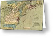Vintage Discovery Map Of The Americas - 1771 Greeting Card