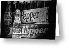 Vintage Dr Pepper In Black And White Greeting Card